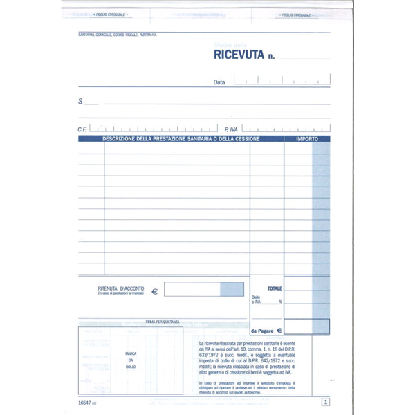 Blocco Ricevute Sanitarie A 2 Copie Autoricalcanti A5 Ufficio Cancelleria NickOffice