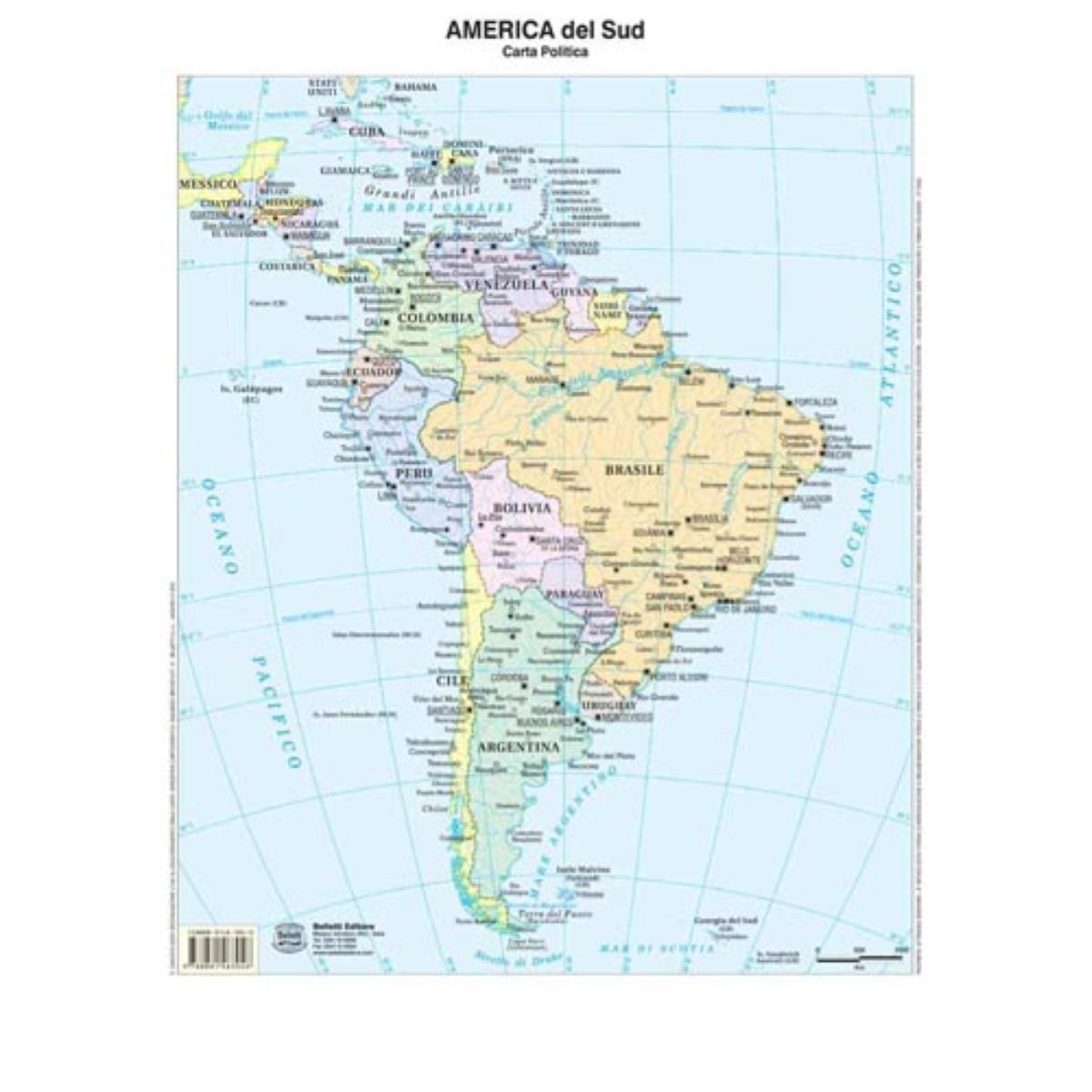 America Politica Cartina.9788881463046 Cartina America Del Sud Belletti Belletti